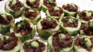 Fresh, cool and crisp with a little wasabi bite -- tuna tartare in cucumber cups