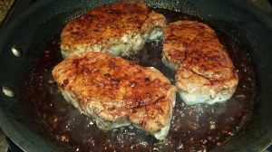 Balsamic-Marionberry Glazed Pork Chops